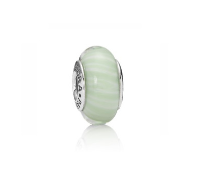 AU35 • Buy ♡ PANDORA ♡ Authentic & Retired 'Green Candy Stripes' Murano Glass Charm 925 ALE