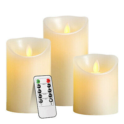 £11.39 • Buy LED Flameless Pillar Candles Flickering Battery Operated With Remote - Set Of 3
