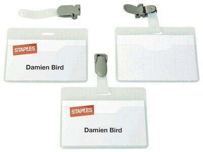 £5.55 • Buy Visitor Name Badge 54 X 90mm Rotating Clip Blank Inserts Pack Of 50 Badges