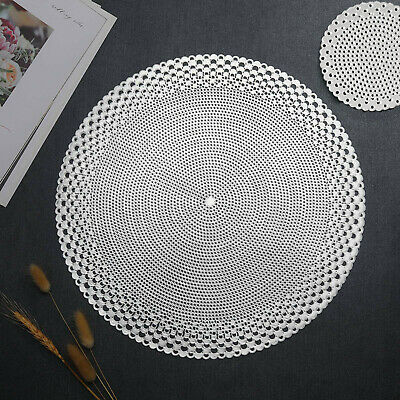 £11.99 • Buy Silver Placemats & Coasters Round Vinyl Place Mat Kitchen Dining Table Wedding
