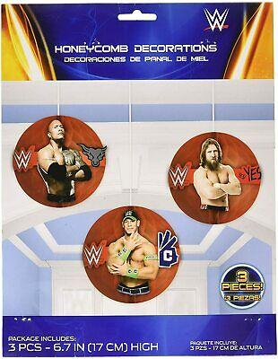 £6.99 • Buy WWE Honeycomb Decorations 3 Piece Party Hanging Decoration 17cm