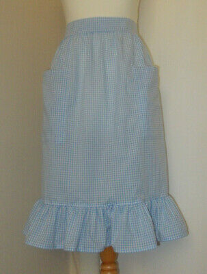 £8.50 • Buy Frilly 'Pale Blue 3mm Gingham' Vintage Style Half / Waist Apron/Pinny