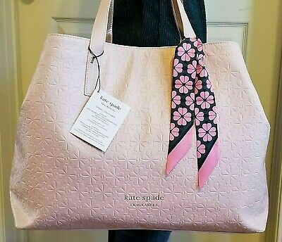 $53.90 • Buy KATE SPADE Embossed Oversized TOTE XL Shopper Carryall BAG W/SCARF Pink LE NWT