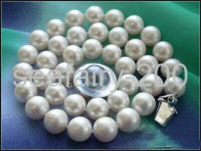 $99.99 • Buy Huge 18  14mm White Round Freshwater Pearl Necklace Mabe Silver Clasp