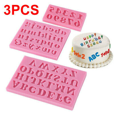 £3.25 • Buy 3X Chocolate Cake Mould Letter Number Silicone Fondant Mold Baking Kitchen Tools