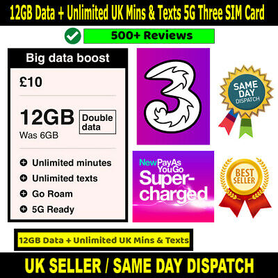£8.50 • Buy 12GB DATA Preloaded SIM + Unlimited Calls & Texts From Three UK - Limited Offer