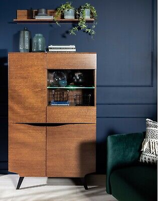 £429.95 • Buy Retro 4 Door Glass Compact Storage & Display Cabinet LED Brown Oak Style Madison