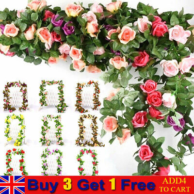 £6.69 • Buy 7Ft Artificial Silk Fake Rose Flowers Leaf Garland Rattan Vine Home Party Decor