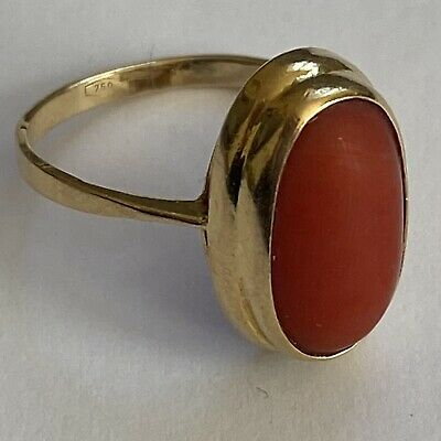 £295 • Buy 18ct Yellow Gold Coral Ring Statement Vintage Size K