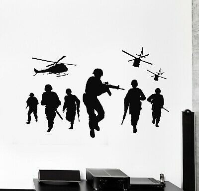 $29.99 • Buy Vinyl Wall Decal War Soldiers Helicopter MIlitary Army Force Stickers (g5595)