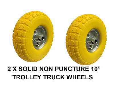 £18.99 • Buy Bn 2 X Replacement Sack Truck Wheel Wheels Solid Non Puncture 10  Trolley Truck