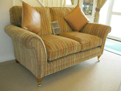 £749 • Buy Parker Knoll Burghley 2 Seater Sofa In Baslow Stripe Gold Fabric ( 2 AVIALABLE)