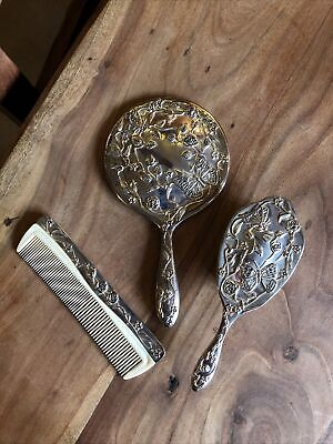 £25 • Buy Silver Plated Ornate Dressing Table Set Mirror Brush Comb