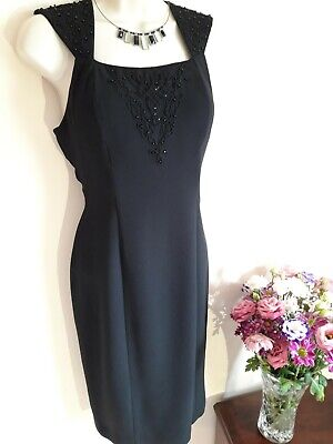 £9.99 • Buy Vintage Little Black Dress Size 10 After Six Beaded 50s Galaxy Style Pencil Fun