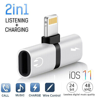 £3.49 • Buy IPhone Dual 2in1 IPad Headphone Audio & Charger Adapter Splitter Wired 7 8 X XR