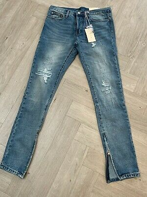 $ CDN42.89 • Buy MNML Tapered Distressed Denim Jeans With Ankle Zips, Size 31, BNWT
