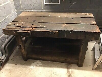 £180 • Buy Antique Woodworking Bench - Carpenters Bench With Old Vice Etc