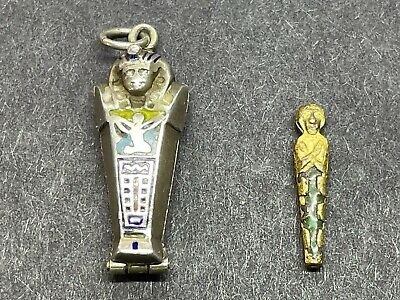 £125 • Buy Vintage Silver Egyptian Sarcophagus Charm With Mummy 1920's