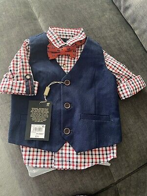 £14 • Buy Baby Boy Next Shirt Waistcoat Bow Tie 12-18 Months Wedding Outfit