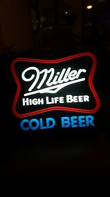 $60 • Buy 😄Vintage Miller High Life Lighted Beer Sign, Faux Neon 20  X 16  X 6