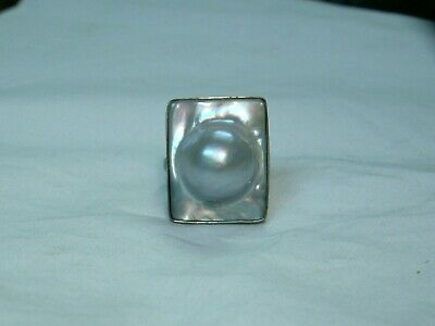 $49.97 • Buy ...Rare,Unusual Art Deco Sterling Silver Domed Mabe Blister Pearl Ring..Must See