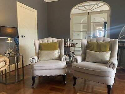 AU450 • Buy Pair Of Royal Wingback Arm Chair Antique White $450 For The Pair