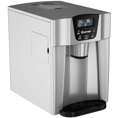 $189.49 • Buy 2 In 1 Ice Maker Water Dispenser Countertop 36Lbs/24H LCD Display Compact Silver