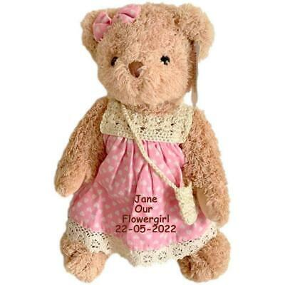 £19.99 • Buy Personalised Jointed Teddy Bear Flower Girl, Bridesmaid Pink Wedding Favour Gift