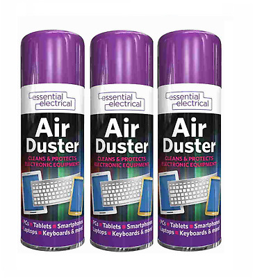 £6.99 • Buy 3 X Compressed Air Duster Spray Can Cleans Protects Laptops Keyboards  200ml