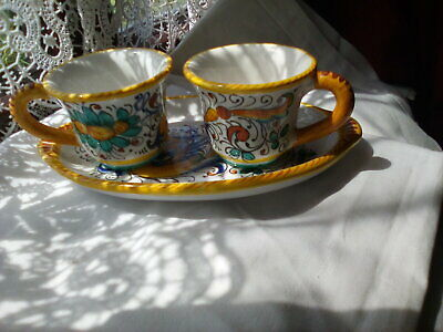 £15.99 • Buy Vintage Deruta Expresso Cups And Small Tray.