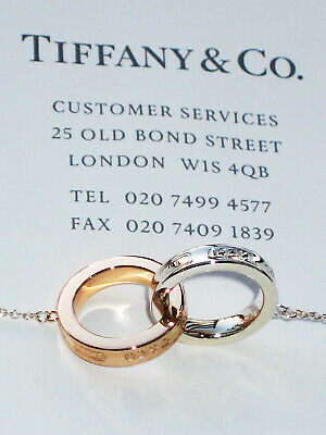 £599.99 • Buy Tiffany & Co 18 Ct  Rose Gold Sterling Silver Interlocking Circles Necklace £910