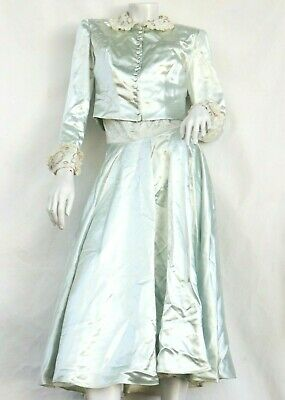£106.35 • Buy Vintage 50s Blue Strapless Ball Gown With Jacket By Kay Selig