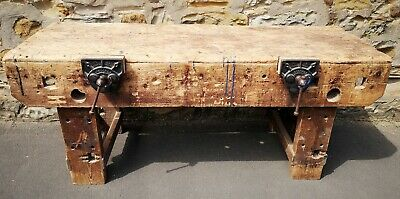 £365 • Buy Industrial Mid Century Carpenters Work Bench With Working Vices