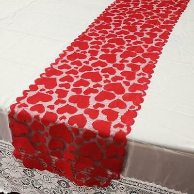 £3.85 • Buy 36x183cm Valentine Red Love Heart Lace Table Runner Embroidered Home Decoration
