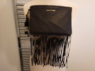 £13 • Buy Black Leather Fringed Clutch Bag By River Island