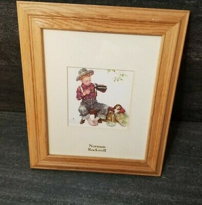 $ CDN36.53 • Buy Norman Rockwell Framed Matted Art Print Boy Taking Care Of Dog  Spring  American