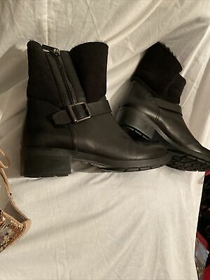 """£16 • Buy Womens Size 3.5 Black Ankle Boots Real Leather And Suede, 1.5"""" Heel, Aquatalia"""