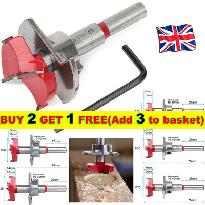 £6.15 • Buy 10-40mm Forstner Drill Bit Tungsten Hinge Hole Cutter With Depth Stop 35mm