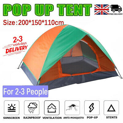 £19.99 • Buy 2-3 Man Automatic Instant Double Layer Pop Up Camping Tent Waterproof Outdoor UK