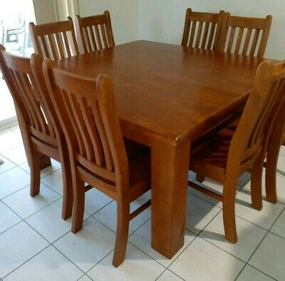 AU450 • Buy Square Wooden Dining Table   8 Chairs EXCELLENT COND