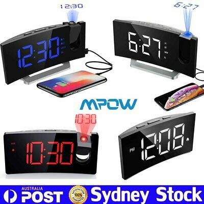 AU24.59 • Buy 5  Projection Alarm Clock Dimmable Digital LED Snooze Clock 12/24H USB Charging