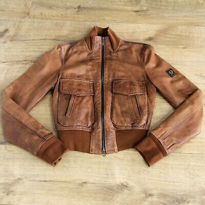 £399.99 • Buy Belstaff Brown Leather Air Bomber Jacket Gold Label Size UK 8 (40) Womens Zip Up