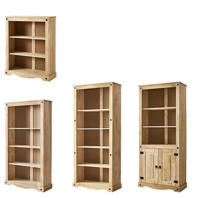 £99.99 • Buy Solid Pine Bookcase Bookshelf Mexican Tall Display Unit Living Room Furniture
