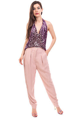£0.99 • Buy RRP €180 PINKO Trousers Size 42 / M Stretch Pleated Drop Crotch Zip Fly