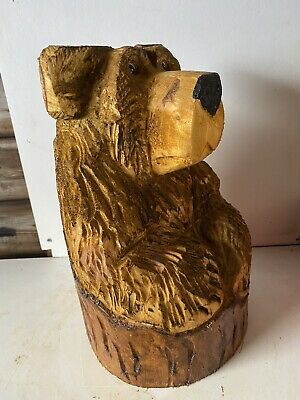 £65 • Buy Chainsaw Carved  Wooden Bear In Stump Carved Bear Carvings