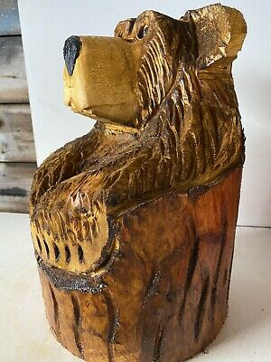 £60 • Buy Chainsaw Carved  Wooden Bear In Stump Carved Bear Carvings