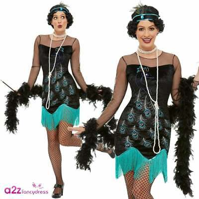£19.95 • Buy Ladies 20's Peacock Flapper Adult Charleston Great Gatsby Fancy Dress Outfit