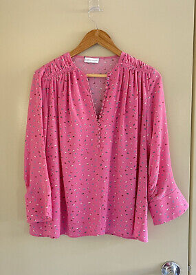 AU85 • Buy Scanlan Theodore Barbie Pink Floral Runched Button Silk Blouse Size 12