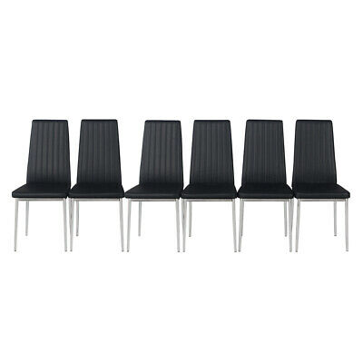 £119.99 • Buy 4/6 PCS Modern Dining Chairs Chrome Legs High Back Seat Home Room Furniture