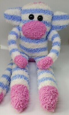 £6.50 • Buy Sock Monkey Billy Fathers Day Gift Hand Made Soft Toy Blue And White Stripes